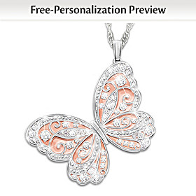 Spread Your Wings & Fly Personalized Pendant Necklace