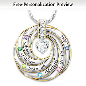 Our Family Of Strength & Love Personalized Pendant Necklace