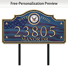 Navy Pride Personalized Address Sign