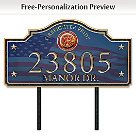 Proud Firefighter Family Personalized Address Sign