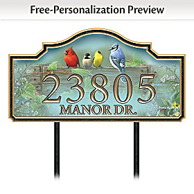Country Songbirds Personalized Address Sign
