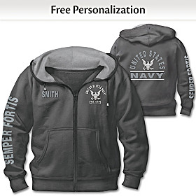 Ready At The Reveille Navy Personalized Men's Hoodie