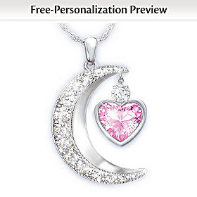 To The Moon And Back Personalized Diamond Pendant Necklace