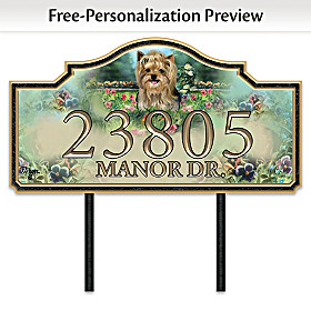 Warm Yorkie Welcome Personalized Address Sign