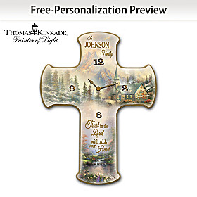 Thomas Kinkade Faith And Family Personalized Wall Clock