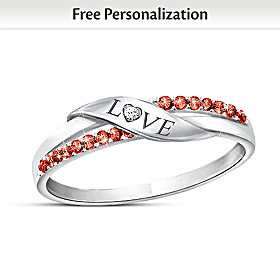 Love Personalized Crystal And Diamond Ring