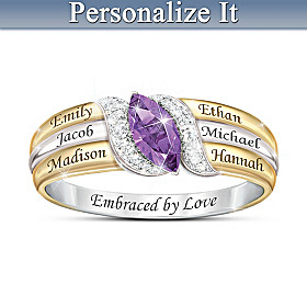 Embraced By Family Crystal And Diamond Personalized Ring