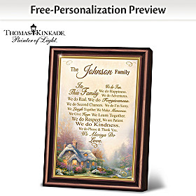 Thomas Kinkade Family Rules Personalized Poem Frame