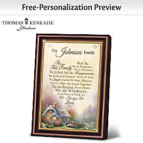 Thomas Kinkade Family Rules Personalized Poem Frame