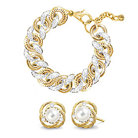Jackie's Gold & Grace Bracelet And Earrings Set