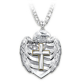 One Nation Under God Diamond Pendant Necklace