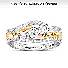 Today & Always Personalized White Topaz And Diamond Ring