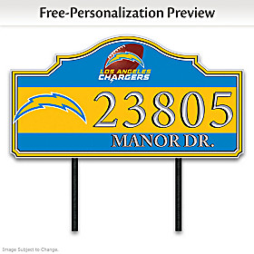 Los Angeles Chargers Personalized Address Sign