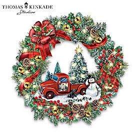 Thomas Kinkade Delivering Christmas Magic Wreath