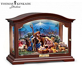 Thomas Kinkade Unto Us A Child Is Born Nativity Shadow Box
