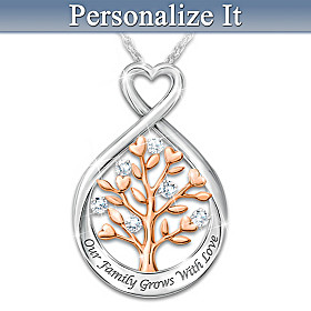 Our Family Tree Personalized Diamond Pendant Necklace