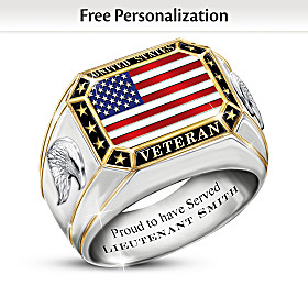 United States Veteran Personalized Ring