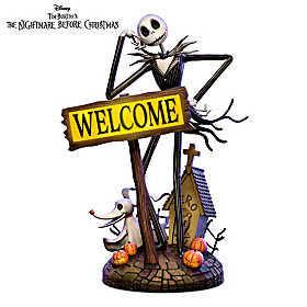 Jack Skellington Solar Lit Welcome Sign