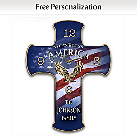 God Bless America Personalized Wall Clock