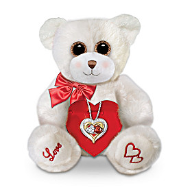 Two Hearts, One Love Pendant Necklace And Plush Bear Set