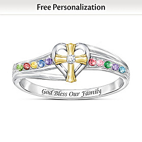 My Blessed Family Personalized Birthstone And Diamond Ring