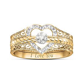 I Love You Diamond Ring Set