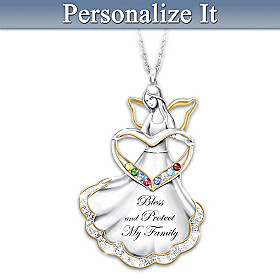 Bless And Protect My Family Personalized Pendant Necklace