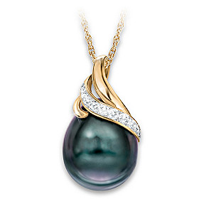 Queen Of Pearls Cultured Pearl And Diamond Pendant Necklace