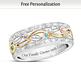 Our Loving Family Tree Personalized Ring