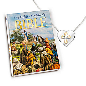 Trust In The Lord Pendant Necklace And Children's Bible Set