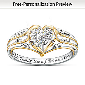 Our Family Tree Personalized Diamond Ring