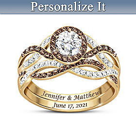 Deepest Love Personalized Topaz And Diamond Bridal Ring Set