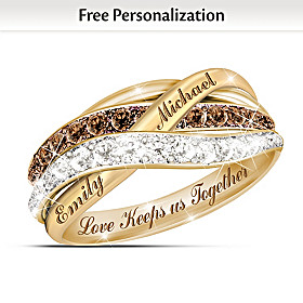 Together In Love Personalized Solid 1K Gold Diamond Ring