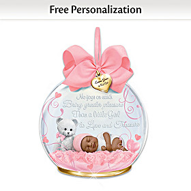 A Baby To Treasure Personalized Ornament: Girl