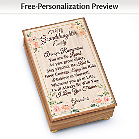 To My Granddaughter Personalized Music Box