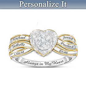 A Mother's Heart Personalized Diamond Ring