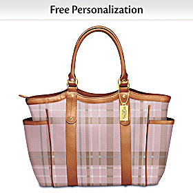 Pink Plaid Personalized Tote Bag