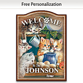 Kitten Cuties Personalized Welcome Sign