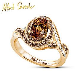 Mocha Twist Quartz And Diamond Ring
