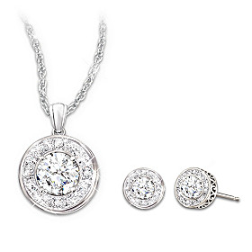 Dazzling Radiance Pendant Necklace And Earrings Set