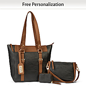Classic Two Tone Personalized Tote Bag Set