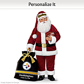 Pittsburgh Steelers Santa Doll With Personalized Bag