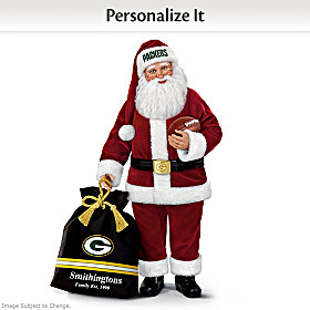 Green Bay Packers Santa Doll With Personalized Bag