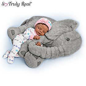 Nia Baby Doll And Peanut Plush Elephant Set