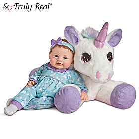 Mia Baby Doll And Sparkle Plush Unicorn Set