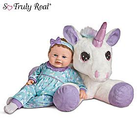 Mia Baby Doll And Sparkle Plush Unicorn Set