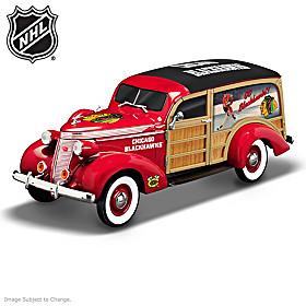 Cruising To Victory Blackhawks® Woody Wagon Sculpture