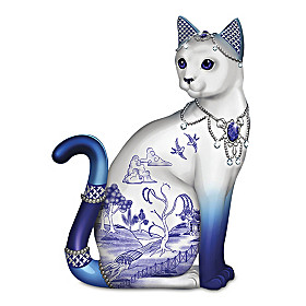 Sparkling Blue Willow Cat Figurine