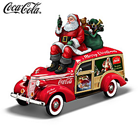 COCA-COLA Christmas Woody Wagon Sculpture