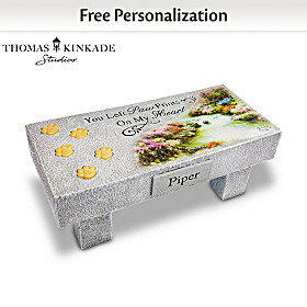 Thomas Kinkade Pet Bereavement Bench Personalized Sculpture